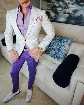 How to Wear a Light Violet Dress Shirt For Men: Marrying a light violet dress shirt with violet dress pants is an amazing idea for a stylish and sophisticated look. White leather tassel loafers can easily tone down an all-too-classic outfit.