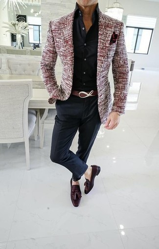 How to Wear a Black Dress Shirt For Men: Reach for a black dress shirt and black dress pants to look like a true style expert. To give your overall outfit a more casual aesthetic, complete your look with burgundy leather tassel loafers.