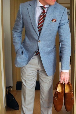 How to Wear a Red Horizontal Striped Tie For Men: For smart style with a modern twist, try pairing a light blue blazer with a red horizontal striped tie. We adore how a pair of tobacco suede double monks makes this look complete.