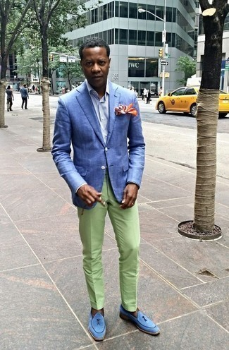 How to Wear Light Blue Suede Loafers For Men: Consider pairing a blue blazer with mint dress pants if you're aiming for a clean-cut, stylish outfit. A pair of light blue suede loafers can integrate seamlessly within a multitude of looks.