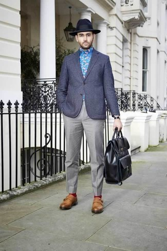 How to Wear a Navy Check Blazer For Men: Reach for a navy check blazer and grey dress pants if you're aiming for a sleek, classic ensemble. Complete your getup with a pair of tobacco leather double monks and the whole ensemble will come together.