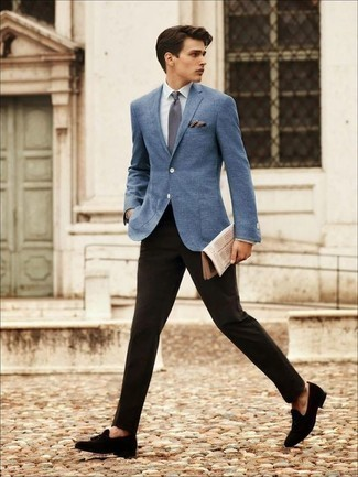 How to Wear Black Suede Tassel Loafers: Dress in a blue blazer and black dress pants for a proper sophisticated outfit. If you don't know how to round off, introduce black suede tassel loafers to your outfit.