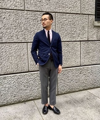 Men's Looks & Outfits: What To Wear In 2020: You'll be amazed at how extremely easy it is to put together this sophisticated outfit. Just a navy blazer and grey dress pants. This outfit is complemented perfectly with black leather loafers.