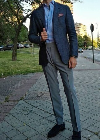 How to Wear Grey Dress Pants For Men: A navy blazer and grey dress pants are a refined ensemble that every sharp gentleman should have in his closet. If you're wondering how to finish off, a pair of black suede loafers is a smart choice.