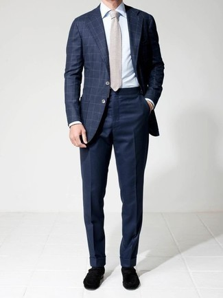 How to Wear a Navy Check Blazer For Men: This combination of a navy check blazer and navy dress pants is a solid bet when you need to look like an expert in modern men's fashion. Black velvet loafers are a stylish companion to this outfit.