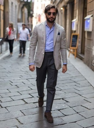 How to Wear a Navy Pocket Square: This relaxed casual pairing of a beige check blazer and a navy pocket square is extremely versatile and really apt for any adventure you may find yourself on. Bring an elegant twist to your outfit by slipping into dark brown suede double monks.