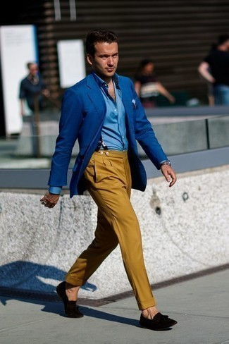 How to Wear Black Suede Tassel Loafers: Go all out in a blue blazer and mustard dress pants. Round off with black suede tassel loafers and you're all done and looking awesome. Ensembles like this go a long way towards maturing your style as a 30-something Millennial guy.