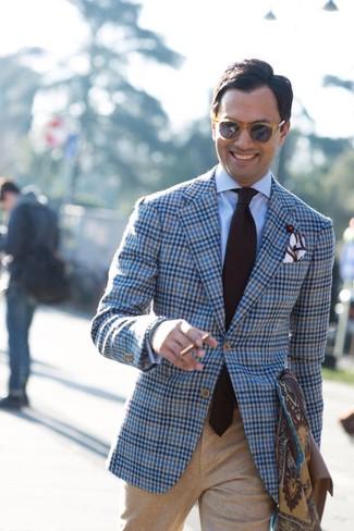 How to wear: dark brown tie, khaki wool dress pants, light blue dress shirt, light blue plaid wool blazer