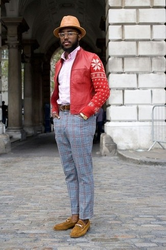 How to wear: mustard suede loafers, light blue plaid dress pants, pink dress shirt, red leather bomber jacket