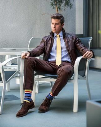How to wear: dark brown suede brogues, dark brown dress pants, light blue dress shirt, dark brown leather bomber jacket