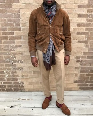 How to wear: brown suede tassel loafers, beige dress pants, white dress shirt, brown suede bomber jacket