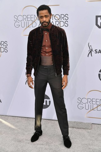 How to wear: black suede derby shoes, black dress pants, brown dress shirt, dark brown velvet bomber jacket