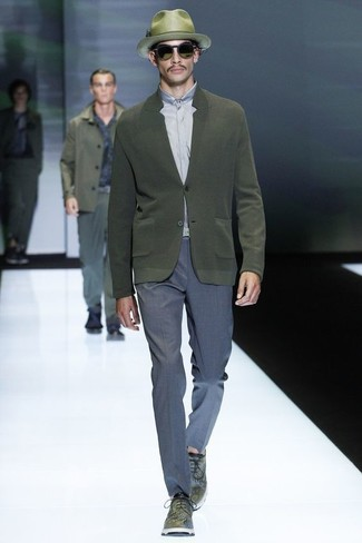 How to wear: olive leather derby shoes, blue dress pants, grey dress shirt, olive cardigan