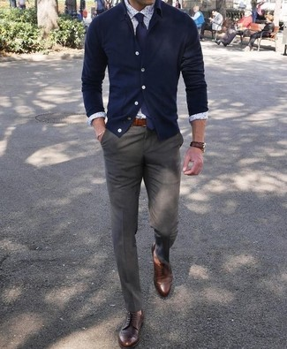 How to wear: dark brown leather derby shoes, olive dress pants, white print dress shirt, navy cardigan