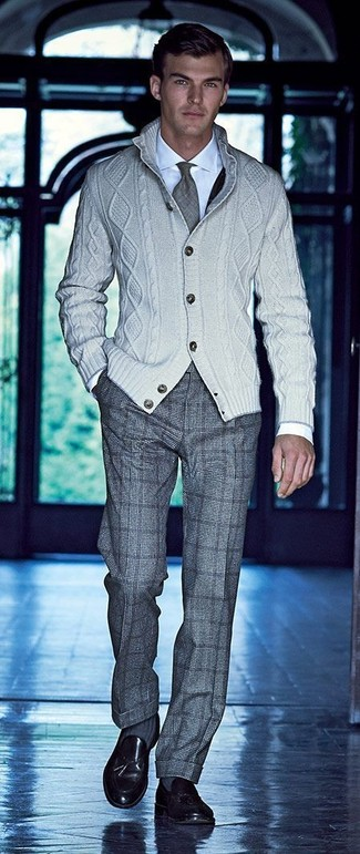 How to wear: black leather tassel loafers, grey check wool dress pants, white dress shirt, beige knit cardigan
