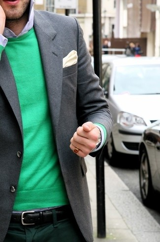 How to wear: beige silk pocket square, dark green dress pants, light blue dress shirt, green crew-neck sweater