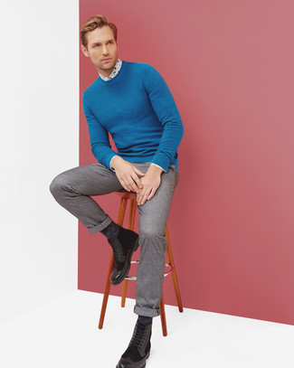 How to wear: black leather brogue boots, grey wool dress pants, white floral dress shirt, blue crew-neck sweater