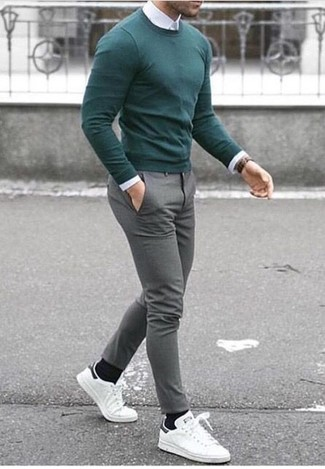 How to wear: white leather low top sneakers, grey wool dress pants, white dress shirt, green crew-neck sweater