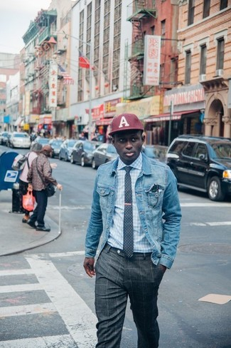How to wear: burgundy baseball cap, charcoal check dress pants, light blue gingham dress shirt, light blue denim jacket