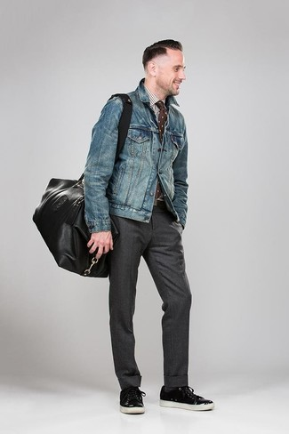 How to wear: black leather low top sneakers, charcoal dress pants, white and brown gingham dress shirt, blue denim jacket