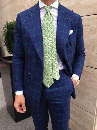 How to wear: white and green print tie, blue check dress pants, white dress shirt, blue check double breasted blazer