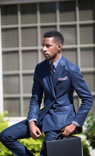 How to wear: black leather briefcase, blue dress pants, white and blue gingham dress shirt, blue double breasted blazer