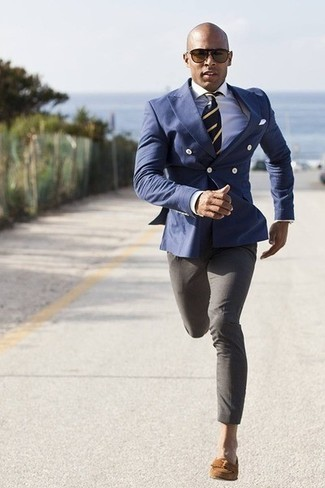 How to wear: brown suede tassel loafers, grey dress pants, white dress shirt, blue double breasted blazer