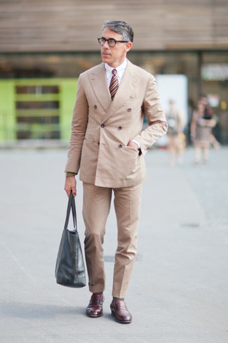 How to wear: burgundy leather loafers, beige dress pants, white dress shirt, beige double breasted blazer