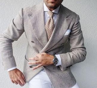 How to wear: beige print tie, white dress pants, white dress shirt, beige double breasted blazer