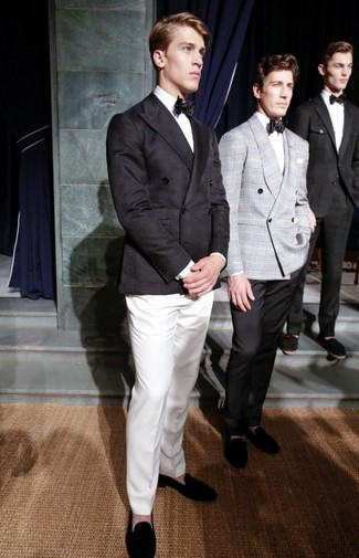 How to wear: black suede loafers, white dress pants, white dress shirt, black double breasted blazer