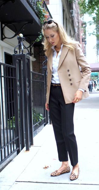 How to wear: tan leopard suede loafers, black dress pants, white dress shirt, beige double breasted blazer