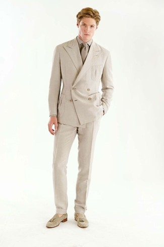 How to wear: beige suede tassel loafers, beige dress pants, beige dress shirt, beige double breasted blazer