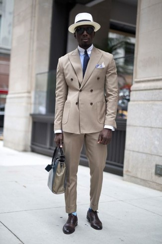 How to wear: dark brown leather oxford shoes, beige dress pants, light blue dress shirt, beige double breasted blazer