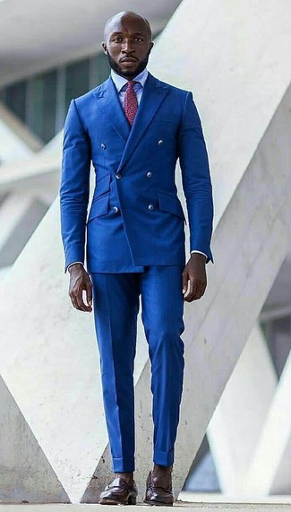How to wear: dark brown leather loafers, blue dress pants, light blue dress shirt, blue double breasted blazer