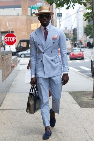 How to wear: navy suede tassel loafers, light blue dress pants, white dress shirt, light blue double breasted blazer
