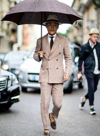 How to wear: dark brown suede tassel loafers, beige dress pants, white dress shirt, beige double breasted blazer