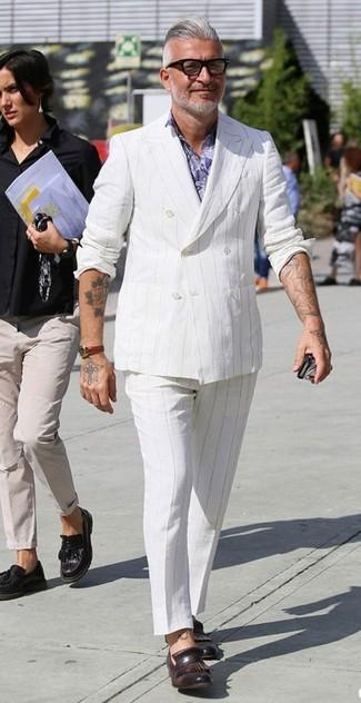 How to wear: dark brown leather tassel loafers, white vertical striped dress pants, light violet floral dress shirt, white vertical striped double breasted blazer