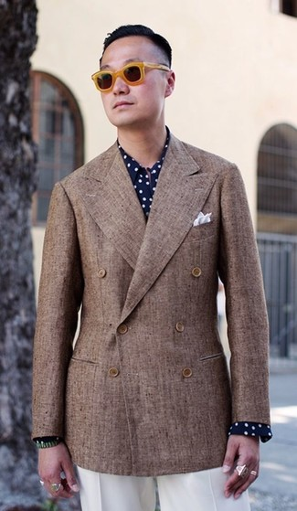 How to wear: white pocket square, white dress pants, navy and white polka dot dress shirt, brown double breasted blazer