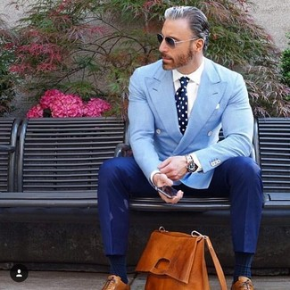 How to wear: tobacco leather oxford shoes, blue dress pants, white dress shirt, light blue double breasted blazer