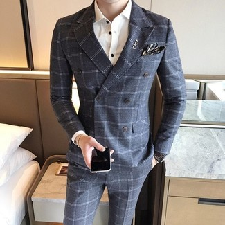 How to wear: charcoal plaid pocket square, grey check wool dress pants, white dress shirt, grey check wool double breasted blazer