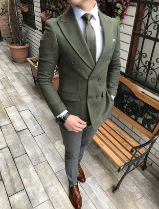 How to wear: brown leather tassel loafers, grey wool dress pants, white dress shirt, olive wool double breasted blazer