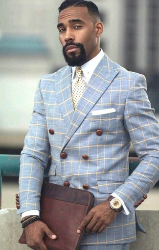 How to wear: dark brown leather zip pouch, light blue check dress pants, white dress shirt, light blue check double breasted blazer