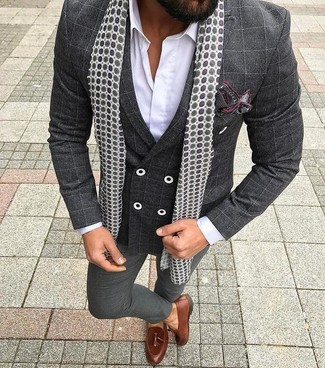 How to wear: brown leather tassel loafers, charcoal dress pants, white dress shirt, charcoal check double breasted blazer