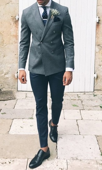 How to wear: black leather double monks, black dress pants, white dress shirt, grey wool double breasted blazer