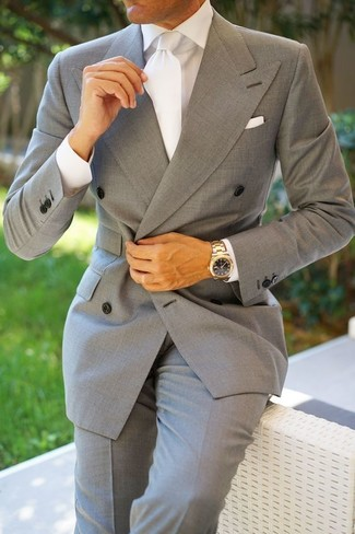 How to wear: white silk tie, grey dress pants, white dress shirt, grey double breasted blazer