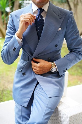 How to wear: navy polka dot tie, light blue dress pants, white dress shirt, light blue double breasted blazer