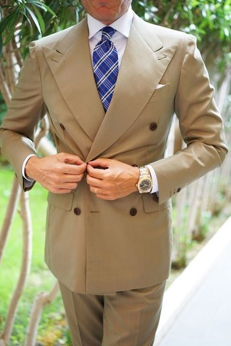 How to wear: blue plaid tie, khaki dress pants, white dress shirt, tan double breasted blazer