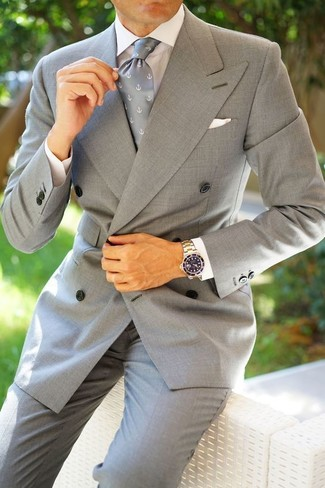 How to wear: grey print tie, grey dress pants, white dress shirt, grey double breasted blazer