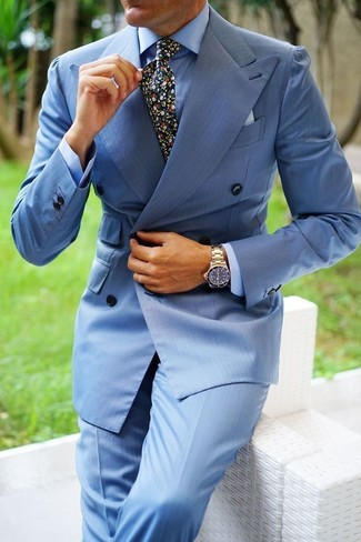 How to wear: black floral tie, light blue dress pants, light blue dress shirt, light blue double breasted blazer