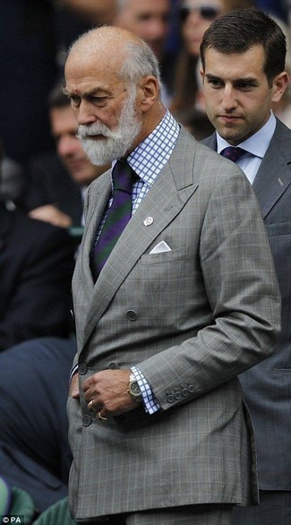 How to wear: violet vertical striped tie, grey check dress pants, white and blue check dress shirt, grey check double breasted blazer